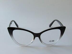 Jessica Simpson CAT EYE Reading Glasses Readers Black/Clear Frame NEW