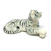 White Bengal Tiger Figurines Collectible Ceramic Dollhouse Miniature Wild Safari