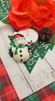 Vintage Snowman White Red Green Enamel Clear Rhinestones Christmas Pin Brooch