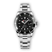 Military Automatic Watch Mens Stainless Steel Silver Case Black Dial Black Bezel
