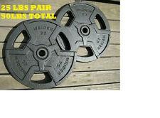 """Steel Pair Weider (2) 25 Lb Weight Plates Set 1"""" Standard.  50LBS Hammertone CAP"""