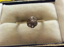 Lovely Pretty Ladies Antique 18ct Gold Diamond Daisy Ring Flower Cluster - L 1/2