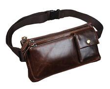 Men Oil Wax Leather Fanny Pack Vintage Travel Belt Waist Purse Sling Chest Bag