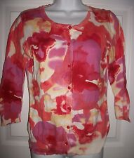 New York & Company Women's Pink & Peach Rose Print Cardigan Size S