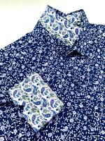 Robert Graham Floral Paisley Katana Sword Print Blue Sport Shirt Mens Medium