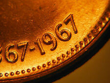 "1967 One Cent *** DOUBLE DOVE, DATE & ""CANADA"" *** Choice BU"