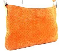 Auth CELINE Macadam Orange Suede Leather Shoulder Bag Pouch Clutch Italy MC00/1