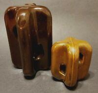 2 Vintage Brown Glazed Porcelain Strain Insulators