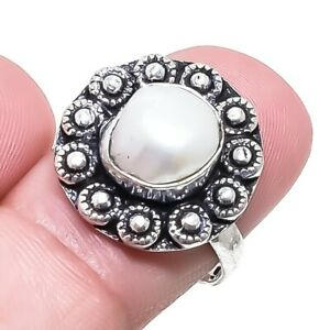 Pearl Gemstone Ethnic Handmade Silver Jewelry Ring Size 8 RR1778