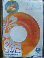 """INFLATABLE Swimming Pool ORANGE CLEAR COLOR FLOWER 36"""" TUBE RING FLOAT INTEX"""