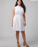 Lane Bryant White Eyelet Shirtdress 14 16 18 20 22 24 26 ~1x 2x 3x 4x Dress