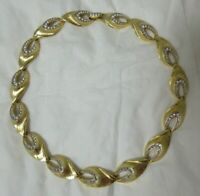 Vintage Textured Gold Tone and Silver Tone Collar Necklace