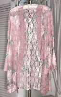 NEW ~ S M L Pink Floral Sheer Lace Open Cardigan  Jacket