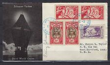 1940 French Oceania Scott 32(pr), 78(pr) & 84 on Schooner Yankee Cover to USA