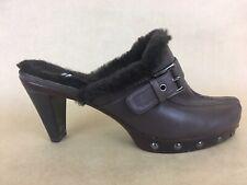 Stuart Weitzman Womens 8 Brown Leather Buckle Strap Faux Fur Lined Heel Mules