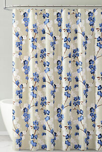 Navy White Taupe Floral Design PEVA Shower Curtain Liner Odorless ECO Friendly