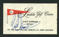 Curt Simmons signed autograph Limekiln Golf Course Manager Business Card BC317