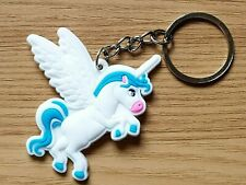 UNICORN KEYRING bag CHAIN Charm WHITE SILICONE Pink/Blue Wings CHILDRENS
