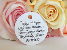 20 Personalised White Wedding Gift /Swing Tags! Favours, Bombonniere, Cake Bags