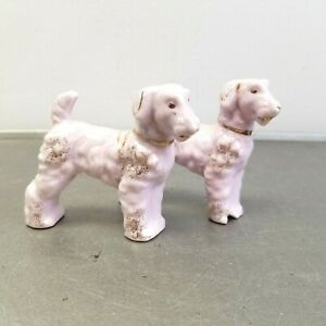 Vintage Porcelain Dog Figurine Pair Pink Terriers Airedale Poodle Made in Japan