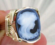 BLUE AGATE CAMEO RING IN SOLID .925  STERLING SILVER SIZE 5 TO 15 WIRE WRAPPED