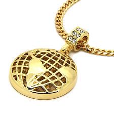 "Mens 14K Gold Plated Globe World Pendant Hip-Hop 3mm 27"" Cuban Chain Fashion"