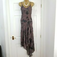 ARIELLA LONDON ✩ STUNNING BROWN BEADED SILK DEVORE MIDI EVENING DRESS UK 10