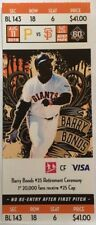 Barry Bonds #25 Retirement Ceremony - Souvenir Ticket Stub 8/11/18 Giants vs Pit