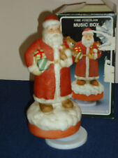 "Santa w/Bear wind-up musical Figurine ""Santa Claus is Coming To Town"" Christmas"