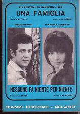 MEMO REMIGI + ISABELLA IANNETTI Una Famiglia SANREMO 1969 Spartito Sheet Music