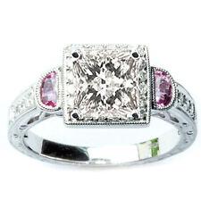 1.81CT F VS Princess Diamond & Pink Sapphire Engagement Ring