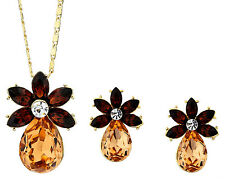 Beautiful Crystal Flower Necklace With Earrings Bridal Wedding Jewellery Set
