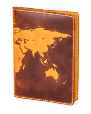 "Premium leather passport cover ""World Map 3D Print"""