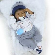 NEW 20''Body Silicone Reborn Baby Doll Lifelike black Baby Dolls+Clothes