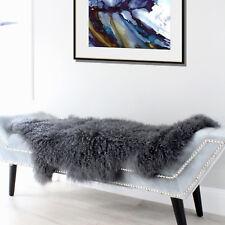 Dark Grey Mongolian Sheepskin Throw Tibetan Lambskin Fur Hide Pelt Curly Hair