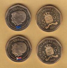 Netherlands Antilles 5 Gulden Set dos Monedas Saint Martin Curacao 2013 SC = UNC