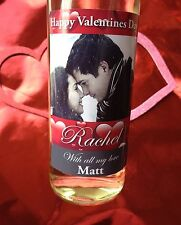 PERSONALISED PHOTO VALENTINES DAY GIFT WINE or NON ALCOHOLIC BOTTLE LABEL