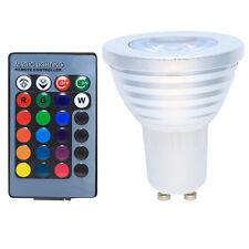 GU10 LED 3 Watt RGB Farbwechsel Lampe Glühbirne Spot mit Fernbedienung AC85-265V