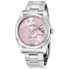 Rolex Datejust Pink Floral Dial Automatic Stainless Steel Ladies Watch