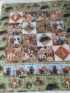 "Handmade Crib Quilt Lap Blanket Puppies Puppies 33"" X 39"" Green"