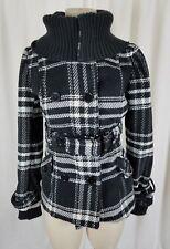 Tally Weijl Tartan Black Plaid Fleece Knit Funnel Neck Bomber Jacket Womens M 38