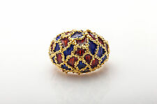 Vintage 1960s Red Blue GUILLOCHE Enamel PUZZLE 18k Yellow Gold BAND Ring 16g