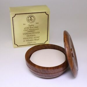 Taylor Of Old Bond St, Shaving Soap in Wooden Bowl, Sandalwood, 100g