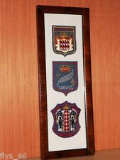 Three Vintage Cloth Patches From Monte Carlo, Cannes & Monaco In Frame