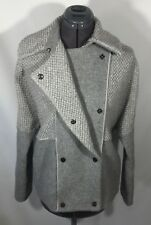 NWT VINCE Boucle Blocked Pea Coat Jacket Sz S Heather Grey Wool Blend MSRP $695