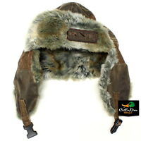 RNT RICH-N-TONE BROWN BOMBER CAP HAT WITH LOGO DUCK GOOSE CALLS