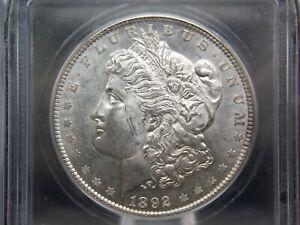 """1892 """"P"""" Morgan Silver Dollar $1 ICG MS62 #501 East Coast Coin & Collectables"""
