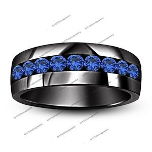 1.20 Ct Blue Sapphire Men's Engagement Wedding Band Ring 14K Black Gold Finish