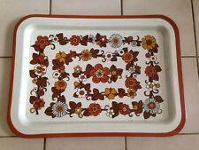 Plateau de  service   en métal décor fleurs  orange marron  vintage  An 70's