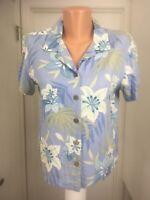 Caribbean Joe Island Petite Floral Blouse PM short sleeves Rayon Blue